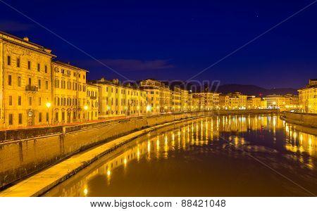 Embankment Of Pisa In The Evening - Italy
