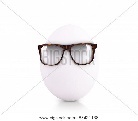 egg in glasses isolated on white background