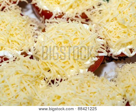 Tomato With Grated Cheese, Top View