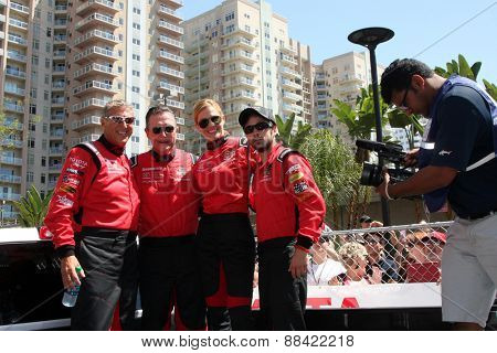 LOS ANGELES - FEB 18:  Dave Pasant, Robert Patrick, Tricia Helfer, Nathan Kress at the Toyota Grand Prix Pro/Celeb Race at the Toyota Grand Prix Racecourse on April 18, 2015 in Long Beach, CA