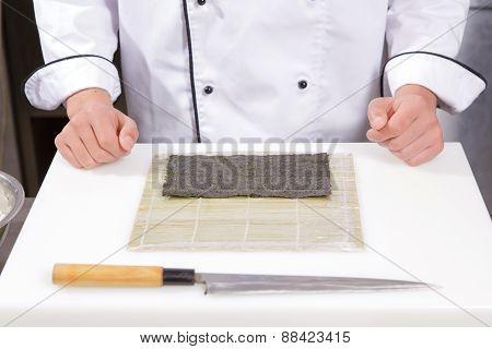 Nori seaweed sheet on a bamboo mat