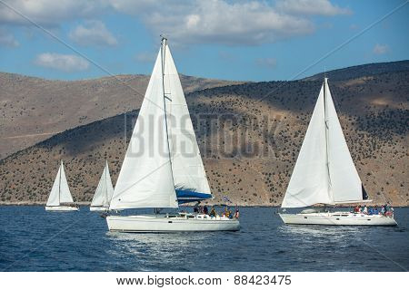 HYDRA, GREECE - CIRCA OCT, 2014: Sailboat participate in sailing regatta 12th Ellada Autumn 2014 among Greek island group in the Aegean Sea, in Cyclades and Argo-Saronic Gulf.