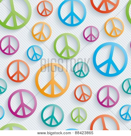 Light perforated paper with cut out effect. 3d peace simbol seamless background. Vector EPS10.
