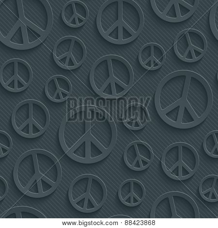 Dark perforated paper with cut out effect. 3d peace simbol seamless background. Vector EPS10.