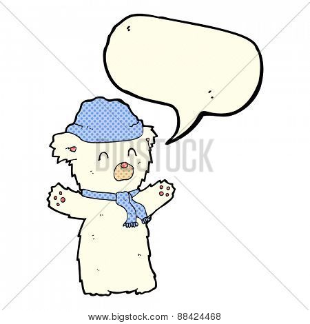 cartoon cute polar bear in hat and scarf with speech bubble