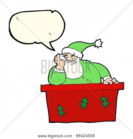 cartoon bored santa claus with speech bubble