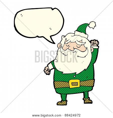 cartoon santa claus punching air with speech bubble