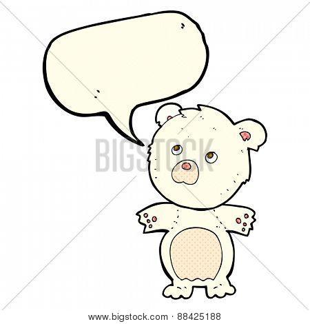 cartoon funny teddy bear with speech bubble