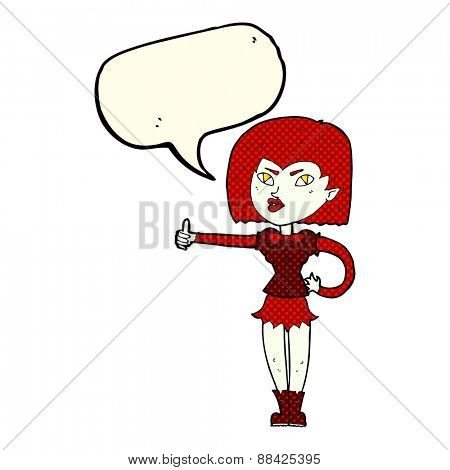 cartoon vampire girl giving thumbs up with speech bubble