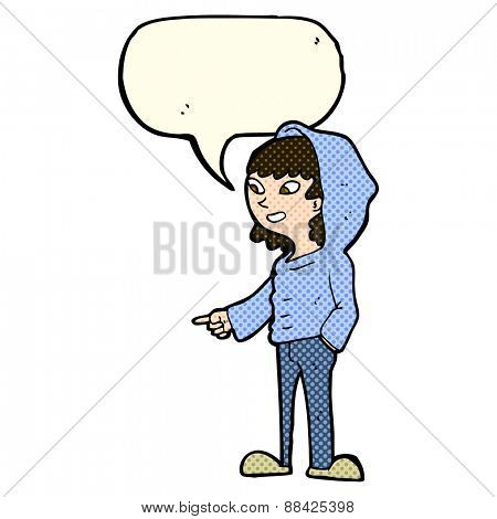 cartoon pointing teenager with speech bubble