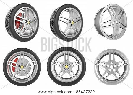 Set of car wheels, discs