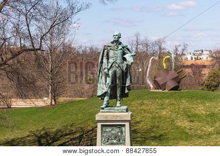 Bronze Statue Of Major General Peter Muhlenberg In Philadelphia And Statue