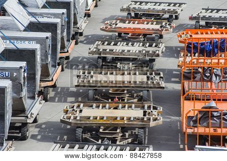 Cargo Trucks On The Flight Field