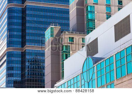 Colored Glass Windows Of Modern Skyscrapers In Philadelphia