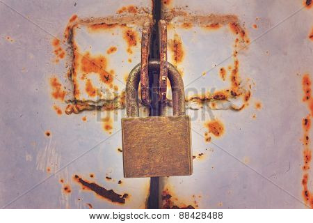 Closeup Rusty Lock,vintage Effect
