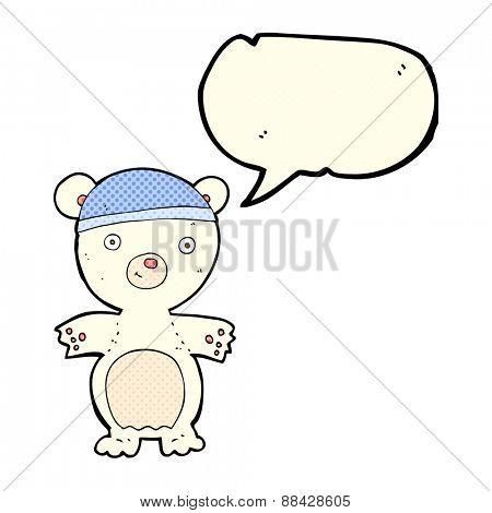 cartoon cute polar bear with speech bubble