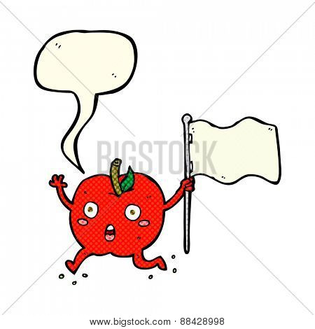 cartoon funny apple with flag with speech bubble