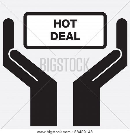 Hand showing hot deal sign icon.