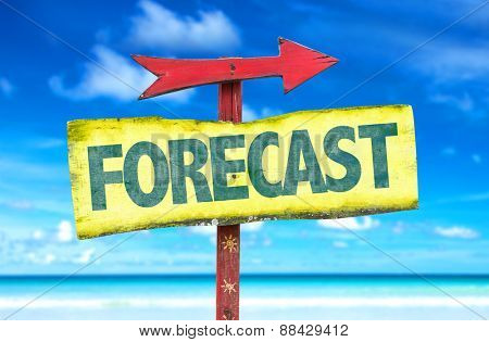 Forecast sign with beach background