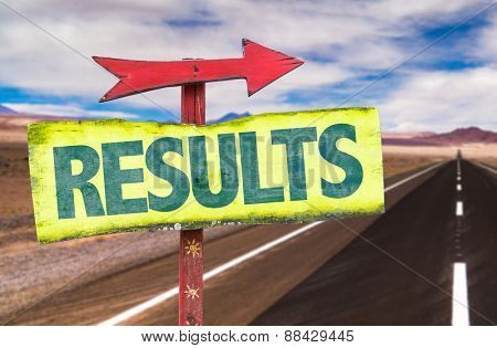 Results sign with road background