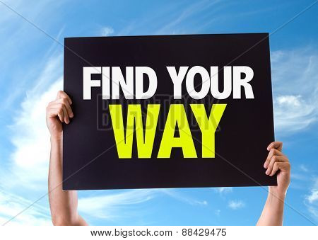 Find Your Way card with sky background