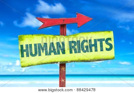 Human Rights sign with beach background