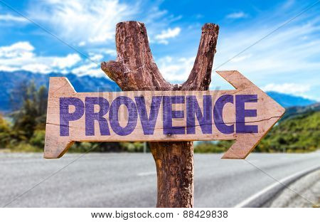 Provence wooden sign with road background