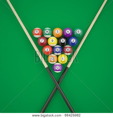 Billiard balls in a triangle with cues on green billiard table.