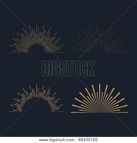 Set Of Gold Vintage Linear Sunbursts