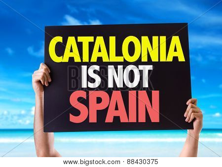 Catalonia Is Not Spain card with beach background
