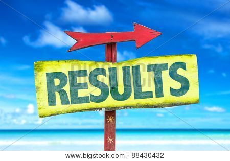 Results sign with beach background