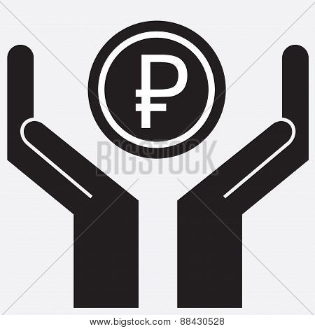 Hand showing rubles sign . Vector illustration.