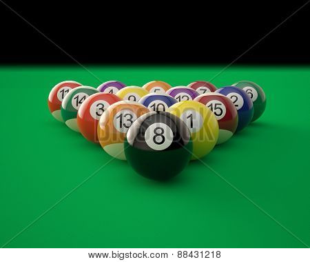 Billiard balls on green billiard table.
