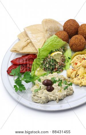 hummus, falafel, baba ghanoush, tabbouleh and pita, middle eastern cuisine
