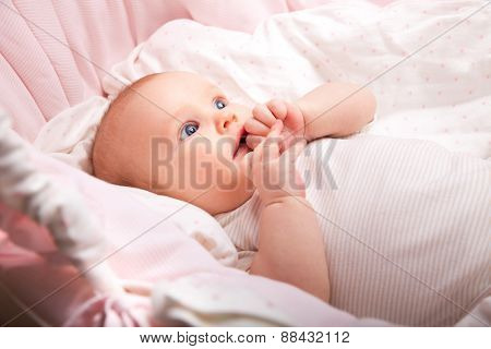 Cute three month baby girl laying in a bassinette looking side