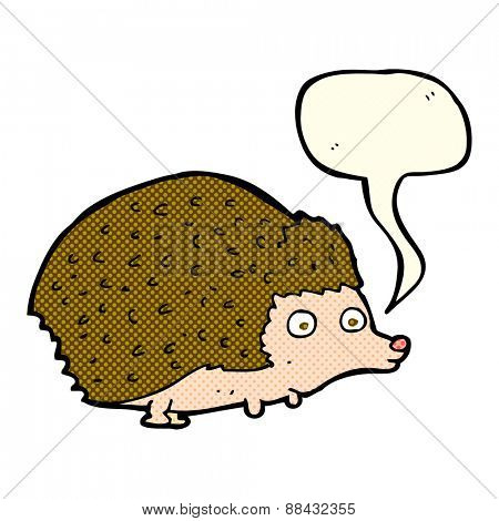 cartoon hedgehog with speech bubble