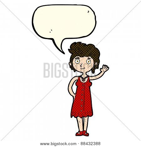 cartoon hippie woman waving with speech bubble