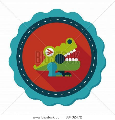 Crocodile Toy Flat Icon With Long Shadow,eps10