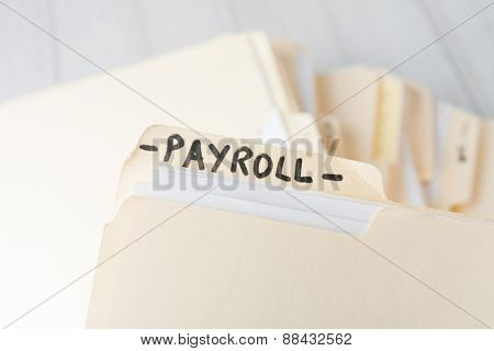 Yellow Paper Folder Labeled Payroll