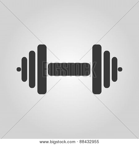The Dumbbell Icon. Barbell Symbol. Flat
