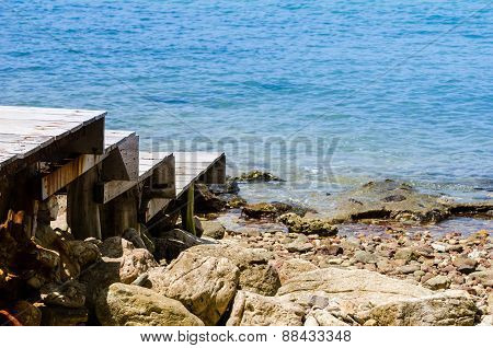 Dock And Blue Sea