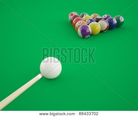 Billiard balls before hitting on a green billiard table.