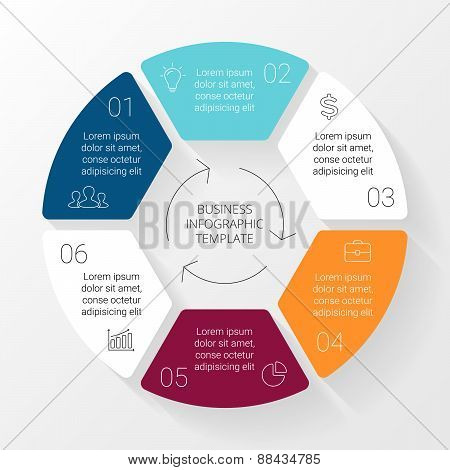 Vector circle lines infographic. Template for cycle diagram, graph, presentation and round chart. Bu