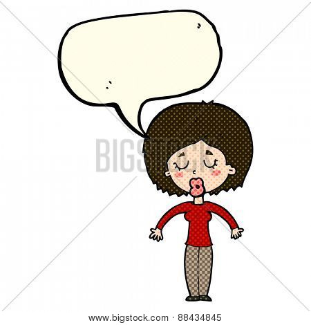 cartoon woman with closed eyes with speech bubble