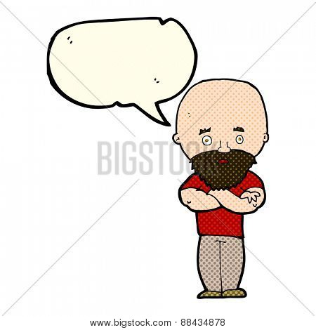 cartoon shocked bald man with beard with speech bubble