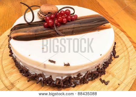 Sponge Cake With Cream Cheese, Chocolate And Fresh Red Currants Berries