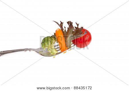 Vegetables On A Fork