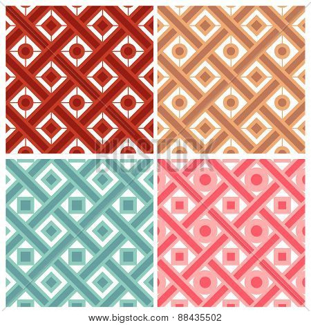 Set of four weave with circle and square patterns in indian style