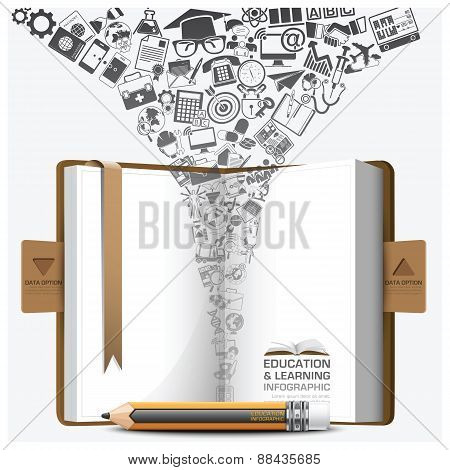 Education And Learning Step Infographic With Notebook Icon
