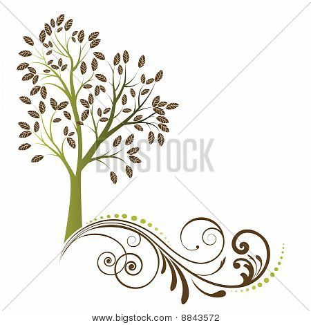 Stylized Tree With Coil Roots